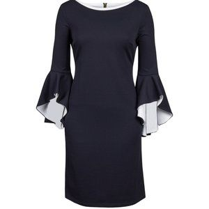 26 4X new Black white Ruffle Bell Sleeve Day Dress